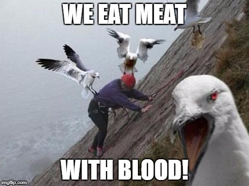 Angry Birds | WE EAT MEAT WITH BLOOD! | image tagged in angry birds,memes | made w/ Imgflip meme maker
