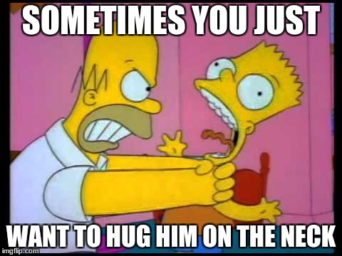 SOMETIMES YOU JUST WANT TO HUG HIM ON THE NECK | image tagged in homer chokes bart | made w/ Imgflip meme maker