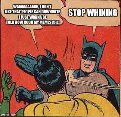 you're just feeding the trolls, dudes | WAAAAAAAAAH, I DON'T LIKE THAT PEOPLE CAN DOWNVOTE, I JUST WANNA BE TOLD HOW GOOD MY MEMES ARE! STOP WHINING | image tagged in memes,batman slapping robin,funny,downvote,whiners | made w/ Imgflip meme maker