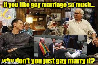 Gay marriage | If you like gay marriage so much... why don't you just gay marry it? | image tagged in community,gay marriage | made w/ Imgflip meme maker