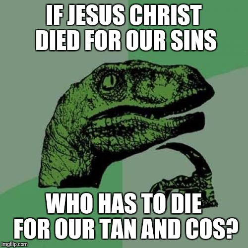Philosoraptor Meme | IF JESUS CHRIST DIED FOR OUR SINS WHO HAS TO DIE FOR OUR TAN AND COS? | image tagged in memes,philosoraptor | made w/ Imgflip meme maker