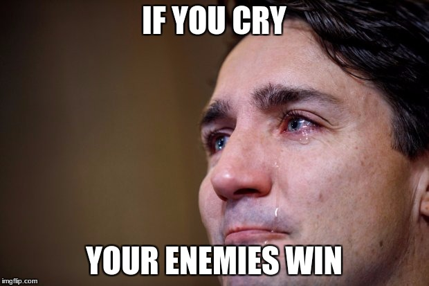IF YOU CRY YOUR ENEMIES WIN | image tagged in soyboy | made w/ Imgflip meme maker