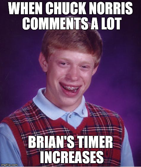 Bad Luck Brian Meme | WHEN CHUCK NORRIS COMMENTS A LOT BRIAN'S TIMER INCREASES | image tagged in memes,bad luck brian | made w/ Imgflip meme maker