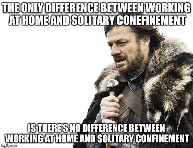 Brace Yourselves X is Coming Meme | THE ONLY DIFFERENCE BETWEEN WORKING AT HOME AND SOLITARY CONEFINEMENT IS THERE'S NO DIFFERENCE BETWEEN WORKING AT HOME AND SOLITARY CONFINEM | image tagged in memes,brace yourselves x is coming | made w/ Imgflip meme maker