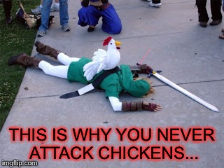 Chickens are actually pretty dangerous... | THIS IS WHY YOU NEVER ATTACK CHICKENS... | image tagged in legend of zelda,link vs chickens,chickens | made w/ Imgflip meme maker