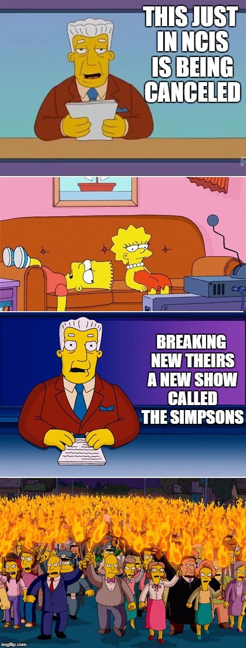 Double Standard | THIS JUST IN NCIS IS BEING CANCELED BREAKING NEW THEIRS A NEW SHOW CALLED THE SIMPSONS | image tagged in double standard | made w/ Imgflip meme maker
