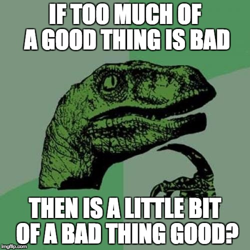 Philosoraptor Meme | IF TOO MUCH OF A GOOD THING IS BAD THEN IS A LITTLE BIT OF A BAD THING GOOD? | image tagged in memes,philosoraptor | made w/ Imgflip meme maker