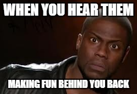 Kevin Hart Meme | WHEN YOU HEAR THEM MAKING FUN BEHIND YOU BACK | image tagged in memes,kevin hart the hell | made w/ Imgflip meme maker