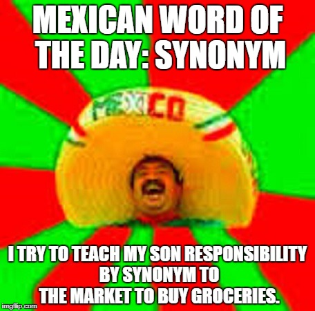 MEXICAN WORD OF THE DAY: SYNONYM I TRY TO TEACH MY SON RESPONSIBILITY BY SYNONYM TO THE MARKET TO BUY GROCERIES. | image tagged in mexican word of the day | made w/ Imgflip meme maker