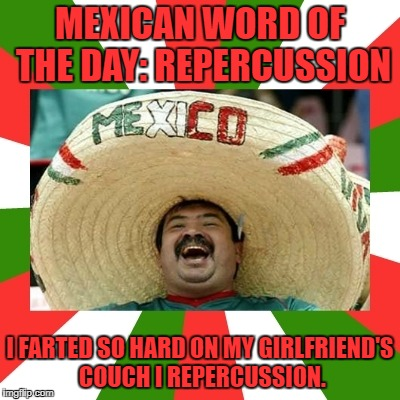 MEXICAN WORD OF THE DAY: REPERCUSSION I FARTED SO HARD ON MY GIRLFRIEND'S COUCH I REPERCUSSION. | image tagged in mexican word of the day | made w/ Imgflip meme maker