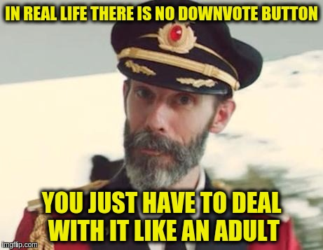Down With Downvotes Weekend Dec 8-10, a JBmemegeek, 1forpeace & isayisay campaign. | IN REAL LIFE THERE IS NO DOWNVOTE BUTTON YOU JUST HAVE TO DEAL WITH IT LIKE AN ADULT | image tagged in captain obvious,down with downvotes weekend,deal with it,butthurt,in real life,memes | made w/ Imgflip meme maker