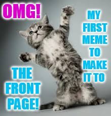I Finally Made the Front Page... And I thank everyone! | OMG! THE FRONT PAGE! MY FIRST MEME TO MAKE IT TO | image tagged in memes,cat memes,police,photos,front page memes,thank you everyone | made w/ Imgflip meme maker