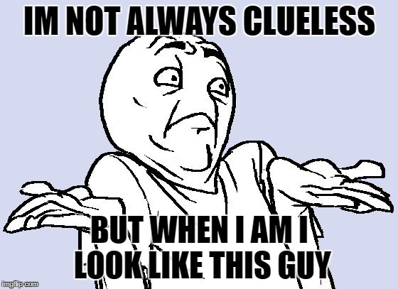 Shrug Cartoon | IM NOT ALWAYS CLUELESS BUT WHEN I AM I LOOK LIKE THIS GUY | image tagged in shrug cartoon | made w/ Imgflip meme maker