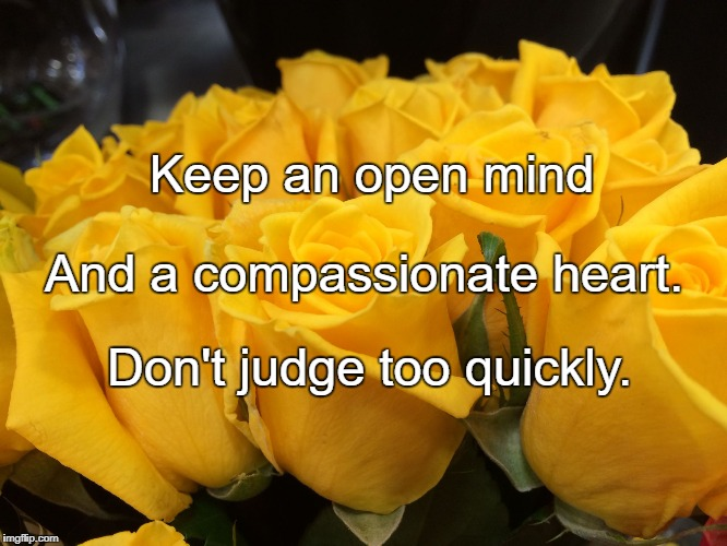 Keep an open mind Don't judge too quickly. And a compassionate heart. | image tagged in compassion | made w/ Imgflip meme maker
