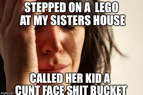 First World Problems Meme | STEPPED ON A LEGO AT MY SISTERS HOUSE CALLED HER KID A C**T FACE SHIT BUCKET | image tagged in memes,first world problems | made w/ Imgflip meme maker