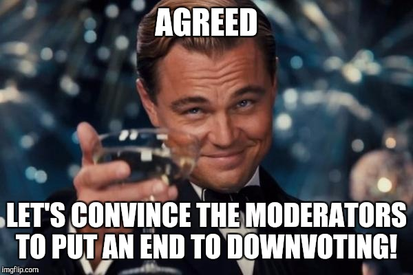 Leonardo Dicaprio Cheers Meme | AGREED LET'S CONVINCE THE MODERATORS TO PUT AN END TO DOWNVOTING! | image tagged in memes,leonardo dicaprio cheers | made w/ Imgflip meme maker