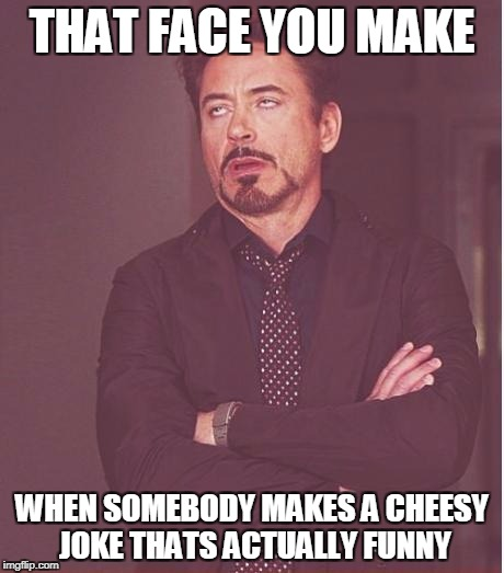 Face You Make Robert Downey Jr Meme | THAT FACE YOU MAKE WHEN SOMEBODY MAKES A CHEESY JOKE THATS ACTUALLY FUNNY | image tagged in memes,face you make robert downey jr | made w/ Imgflip meme maker