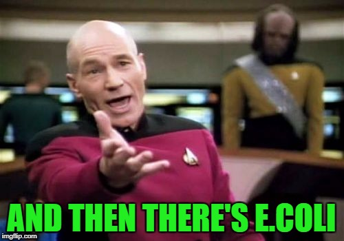 Picard Wtf Meme | AND THEN THERE'S E.COLI | image tagged in memes,picard wtf | made w/ Imgflip meme maker
