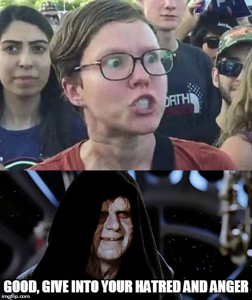 Join the Darkside | GOOD, GIVE INTO YOUR HATRED AND ANGER | image tagged in triggered liberal,emperor palpatine | made w/ Imgflip meme maker