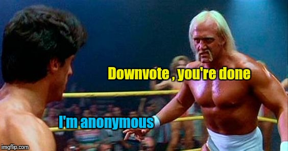 Rocky 3 | Downvote , you're done I'm anonymous | image tagged in rocky 3 | made w/ Imgflip meme maker
