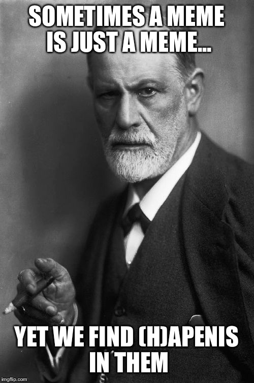 Sigmund Freud Meme | SOMETIMES A MEME IS JUST A MEME... YET WE FIND (H)AP**IS IN THEM | image tagged in memes,sigmund freud | made w/ Imgflip meme maker