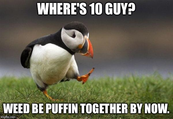 We'd. | WHERE'S 10 GUY? WEED BE PUFFIN TOGETHER BY NOW. | image tagged in popular opinion puffin,10 guy,weed | made w/ Imgflip meme maker