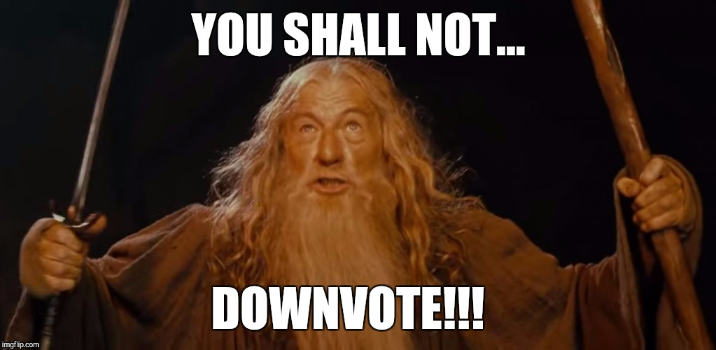 Please sign the petition linked in the comments! Down With Downvotes Weekend, a JBmemegeek, 1forpeace & isayisay campaign!  | YOU SHALL NOT... DOWNVOTE!!! | image tagged in jbmemegeek,down with downvotes weekend,gandalf,gandalf you shall not pass,lord of the rings,downvote fairy | made w/ Imgflip meme maker