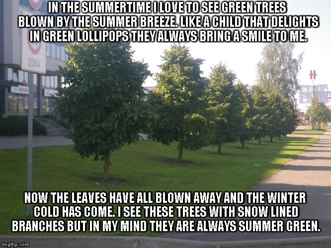 Summer Green | IN THE SUMMERTIME I LOVE TO SEE GREEN TREES BLOWN BY THE SUMMER BREEZE. LIKE A CHILD THAT DELIGHTS IN GREEN LOLLIPOPS THEY ALWAYS BRING A SM | image tagged in trees,summer green,summer,lollipops,leaves,snow | made w/ Imgflip meme maker