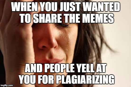 First World Problems Meme | WHEN YOU JUST WANTED TO SHARE THE MEMES AND PEOPLE YELL AT YOU FOR PLAGIARIZING | image tagged in memes,first world problems | made w/ Imgflip meme maker