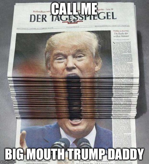 BigMouthTrumpDaddy | CALL ME BIG MOUTH TRUMP DADDY | image tagged in donald trump | made w/ Imgflip meme maker