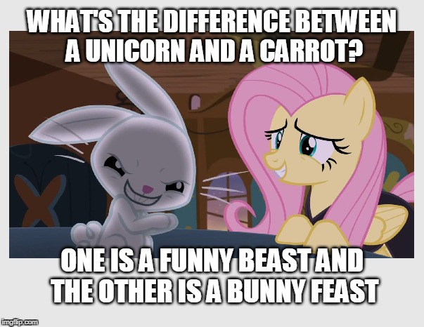 Lettuce turnip the beet... | WHAT'S THE DIFFERENCE BETWEEN A UNICORN AND A CARROT? ONE IS A FUNNY BEAST AND THE OTHER IS A BUNNY FEAST | image tagged in bunny,unicorn,bunny humor,jokes,funny memes | made w/ Imgflip meme maker