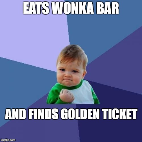 Success Kid Meme | EATS WONKA BAR AND FINDS GOLDEN TICKET | image tagged in memes,success kid | made w/ Imgflip meme maker