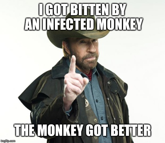 Chuck Norris Finger | I GOT BITTEN BY AN INFECTED MONKEY THE MONKEY GOT BETTER | image tagged in memes,chuck norris finger,chuck norris | made w/ Imgflip meme maker
