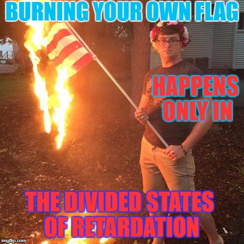 Burning flag | BURNING YOUR OWN FLAG HAPPENS ONLY IN THE DIVIDED STATES OF RETARDATION | image tagged in liberal,united states,american flag | made w/ Imgflip meme maker