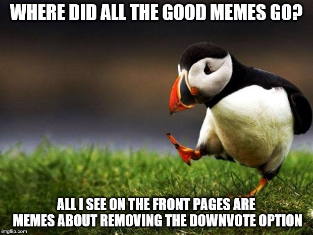 Unpopular Opinion Puffin Meme | WHERE DID ALL THE GOOD MEMES GO? ALL I SEE ON THE FRONT PAGES ARE MEMES ABOUT REMOVING THE DOWNVOTE OPTION | image tagged in memes,unpopular opinion puffin | made w/ Imgflip meme maker