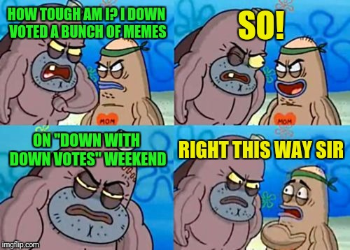 "How Tough Are You |  SO! HOW TOUGH AM I? I DOWN VOTED A BUNCH OF MEMES; ON ""DOWN WITH DOWN VOTES"" WEEKEND; RIGHT THIS WAY SIR 