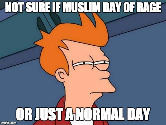 Futurama Fry Meme | NOT SURE IF MUSLIM DAY OF RAGE OR JUST A NORMAL DAY | image tagged in memes,futurama fry | made w/ Imgflip meme maker