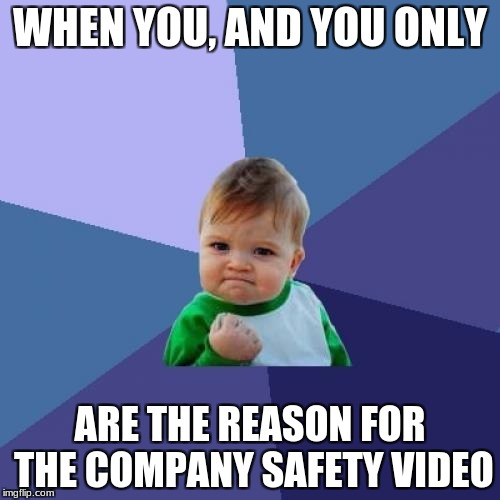 Success Kid Meme | WHEN YOU, AND YOU ONLY ARE THE REASON FOR THE COMPANY SAFETY VIDEO | image tagged in memes,success kid | made w/ Imgflip meme maker