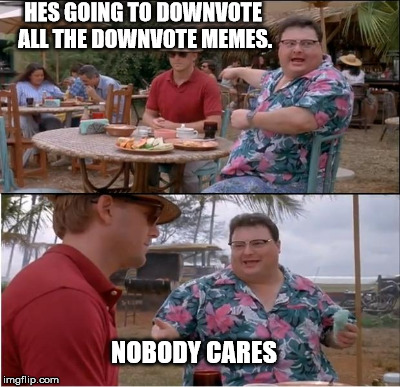 HES GOING TO DOWNVOTE ALL THE DOWNVOTE MEMES. NOBODY CARES | made w/ Imgflip meme maker