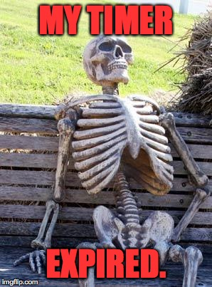Waiting Skeleton Meme | MY TIMER EXPIRED. | image tagged in memes,waiting skeleton | made w/ Imgflip meme maker