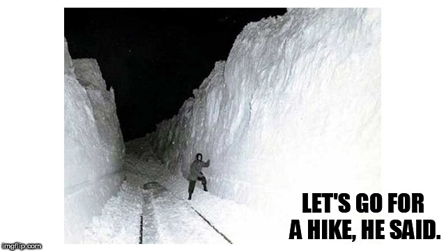 LET'S GO FOR A HIKE, HE SAID. | image tagged in lady in snow | made w/ Imgflip meme maker