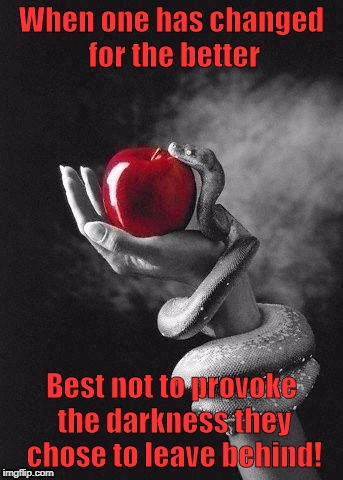 provoke | When one has changed for the better Best not to provoke the darkness they chose to leave behind! | image tagged in self esteem,inspirational memes | made w/ Imgflip meme maker