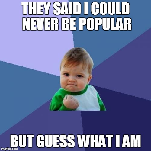 Success Kid Meme | THEY SAID I COULD NEVER BE POPULAR BUT GUESS WHAT I AM | image tagged in memes,success kid | made w/ Imgflip meme maker