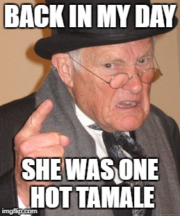 Back In My Day Meme | BACK IN MY DAY SHE WAS ONE HOT TAMALE | image tagged in memes,back in my day | made w/ Imgflip meme maker