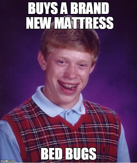 Bad Luck Brian bed bugs | BUYS A BRAND NEW MATTRESS BED BUGS | image tagged in memes,bad luck brian,bed bugs,mattress | made w/ Imgflip meme maker