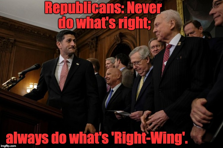 The GOP | Republicans: Never do what's right; always do what's 'Right-Wing'. | image tagged in right-wing,alt-right,conservative,republican | made w/ Imgflip meme maker