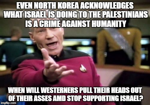 Picard Wtf | EVEN NORTH KOREA ACKNOWLEDGES WHAT ISRAEL IS DOING TO THE PALESTINIANS IS A CRIME AGAINST HUMANITY WHEN WILL WESTERNERS PULL THEIR HEADS OUT | image tagged in memes,picard wtf,north korea,palestine,israel,western world | made w/ Imgflip meme maker