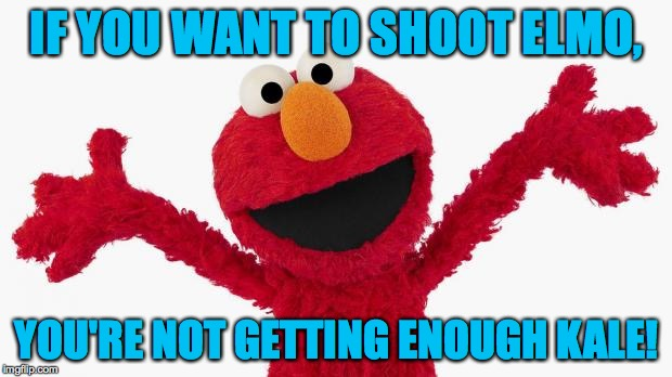 IF YOU WANT TO SHOOT ELMO, YOU'RE NOT GETTING ENOUGH KALE! | made w/ Imgflip meme maker