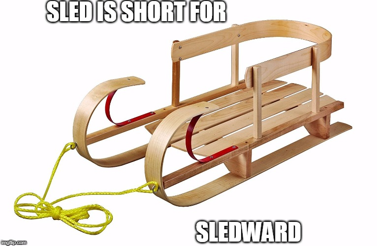 Sledward | SLED IS SHORT FOR SLEDWARD | image tagged in pun,short for,sled | made w/ Imgflip meme maker