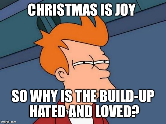 Building up to Chrimbo | CHRISTMAS IS JOY SO WHY IS THE BUILD-UP HATED AND LOVED? | image tagged in memes,futurama fry,christmas,joke,fry,funny | made w/ Imgflip meme maker